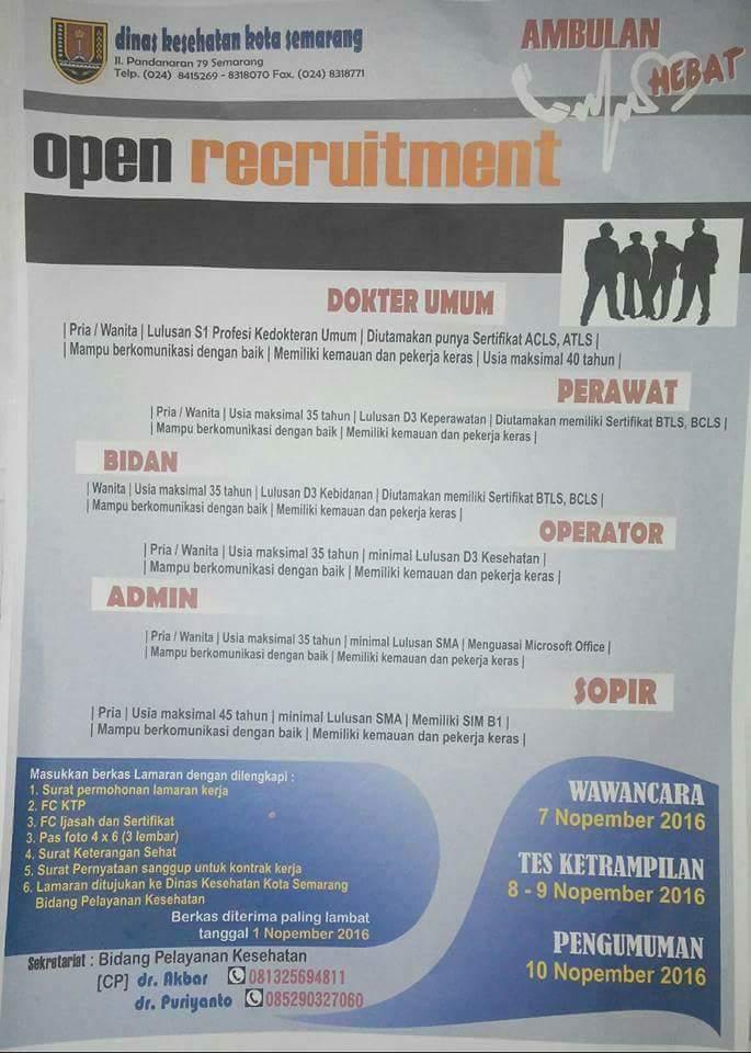 Open Recruitment Dinas Kesehatan Kota Semarang Stikes Panca Bhakti Bandar Lampung
