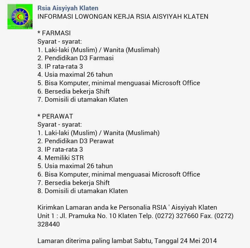 Lowongan Kerja Rsia Aisyiyah Klaten Stikes Panca Bhakti Bandar Lampung